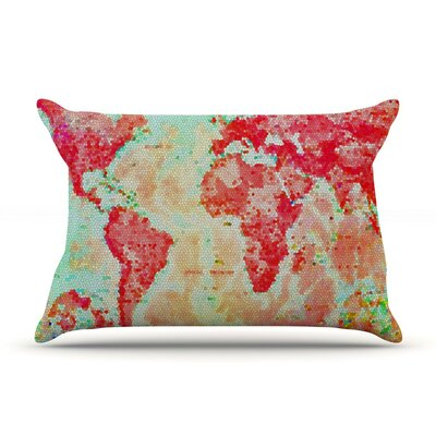 Oh The Places Well Go by Alison Coxon World Map Cotton Pillow Sham