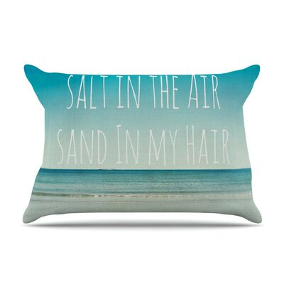 Salt in the Air Ocean Typography by Debbra Obertanec Cotton Pillow Sham