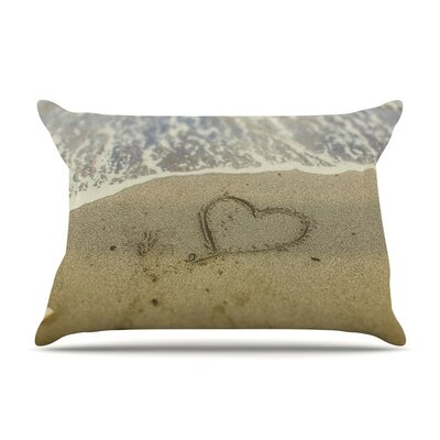 Beach Heart Sand Coastal by Debbra Obertanec Cotton Pillow Sham