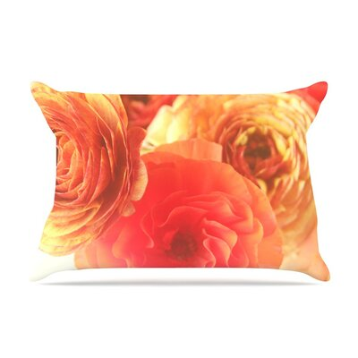 Coral Ranunculus Floral by Debbra Obertanec Cotton Pillow Sham