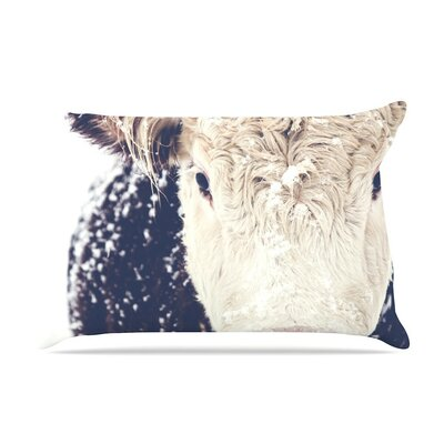 Snowy Cow by Debbra Obertanec Cotton Pillow Sham
