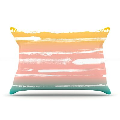 Painted Stripes Peach by Anneline Sophia Cotton Pillow Sham