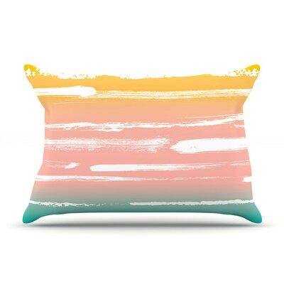 Painted Stripes Peach by Anneline Sophia Cotton Pillow Sham
