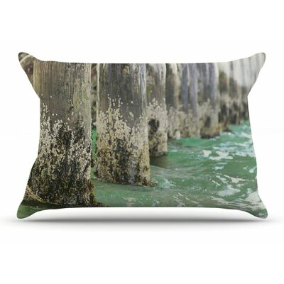 Saltwater Pylons by Debbra Obertanec Wooden Woven Pillow Sham