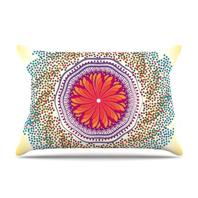 Confetti Dots Mandala by Famenxt Abstract Cotton Pillow Sham