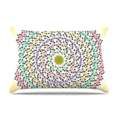 Leafy Watercolor Mandala by Famenxt Pastels Abstract Cotton Pillow Sham