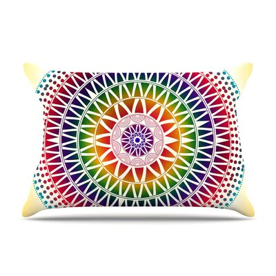 Colorful Vibrant Mandala Rainbow Geometric by Famenxt Cotton Pillow Sham