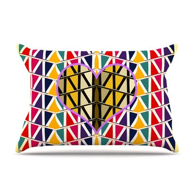 Heart in Abstract by Famenxt Geometric Cotton Pillow Sham
