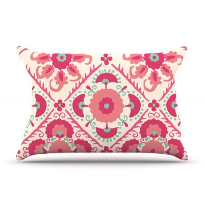 Bukhara Coral Floral by Laura Nicholson Cotton Pillow Sham