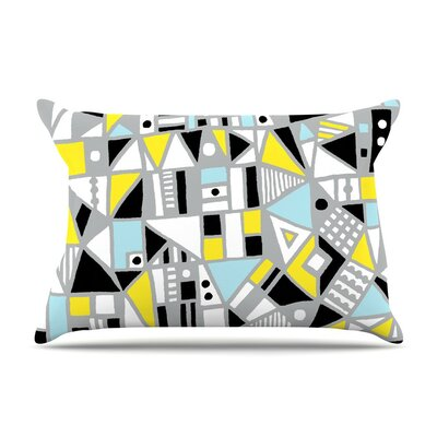 Fun Geo Too Aqua by Emine Ortega Cotton Pillow Sham