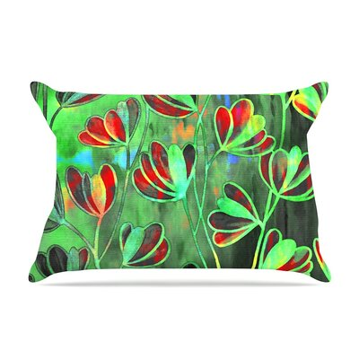 Efflorescence Green by Ebi Emporium Lime Crimson Featherweight Pillow Sham