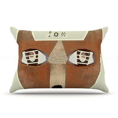 Fox Face by Bri Buckley Tan Cotton Pillow Sham