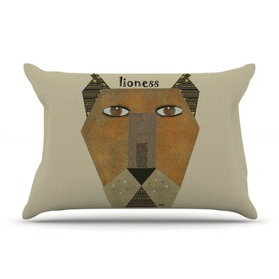 Lioness by Bri Buckley Tan Cotton Pillow Sham