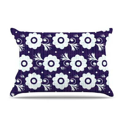 Navy Flower by Louise Machado White Featherweight Pillow Sham