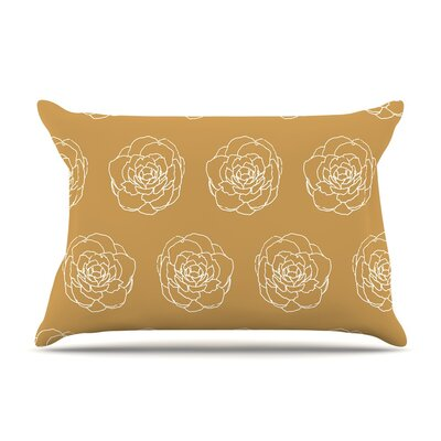 Golden Peonies by Pellerina Design Yellow White Featherweight Pillow Sham