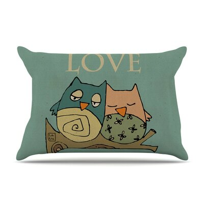 Lechuzas Love by Carina Povarchik Owls Cotton Pillow Sham