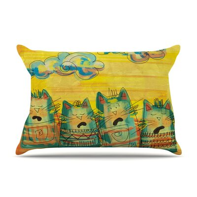 Singing Cats by Carina Povarchik Yellow Featherweight Pillow Sham