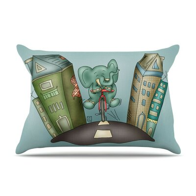 Life is Good by Carina Povarchik Elephant Cotton Pillow Sham