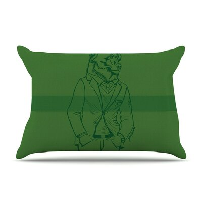 Dapper Bear Emerald by Geordanna Cordero-Fields Animal Cotton Pillow Sham