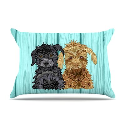 Daisy and Gatsby by Art Love Passion Abstract Puppies Featherweight Pillow Sham