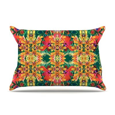 Tropical Floral by Dawid Roc Orange Featherweight Pillow Sham