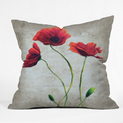 Vibrant Poppies I Throw Pillow Size: 16 H x 16 W