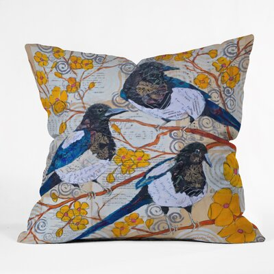 Magpies And Blossoms Throw Pillow Size: 18 H x 18 W