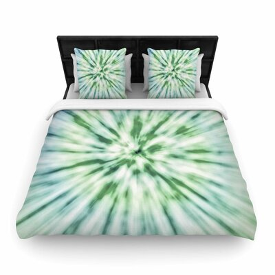 Green Spring Tie Dye Woven Duvet Cover Size: King