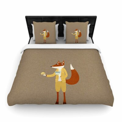 Mr Fox Takes Tea Woven Duvet Cover Size: Queen