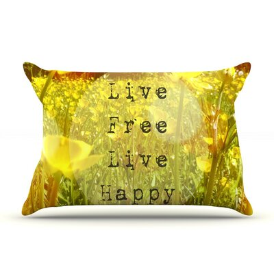 Live Free by Alison Coxon Featherweight Pillow Sham, Green