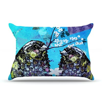 Birds in Love by alyZen Moonshadow Navy Featherweight Pillow Sham
