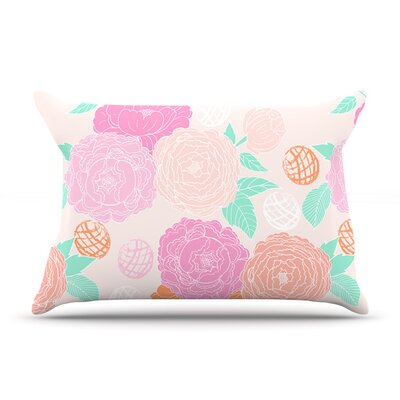 Peonies by Anneline Sophia Peach Teal Featherweight Pillow Sham