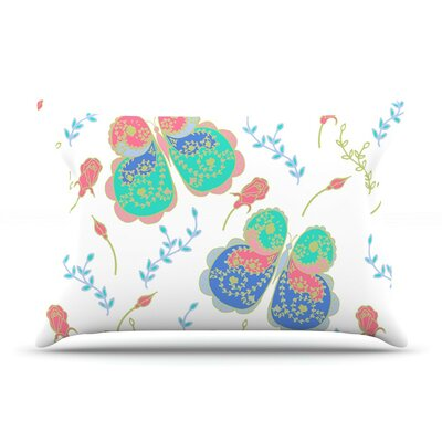 Leafy Butterflies by Anneline Sophia Teal Butterfly Featherweight Pillow Sham