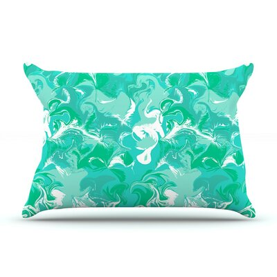 Marbleized in Seafoam by Anneline Sophia Aqua Featherweight Pillow Sham