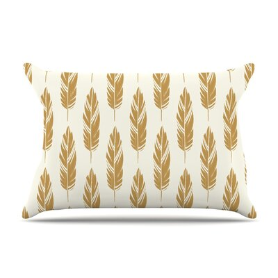 Feathers Mustard by Amanda Lane Cotton Pillow Sham