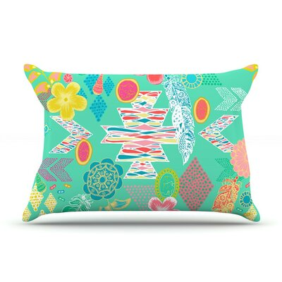Aztec Boho Emerald by Anneline Sophia Rainbow Featherweight Pillow Sham