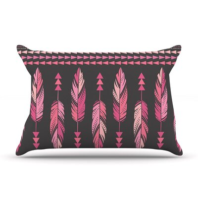 Painted Feathers by Amanda Lane Pink Dark Featherweight Pillow Sham