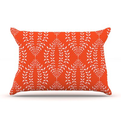 Laurel Leaf Orange by Anneline Sophia Featherweight Pillow Sham, Floral