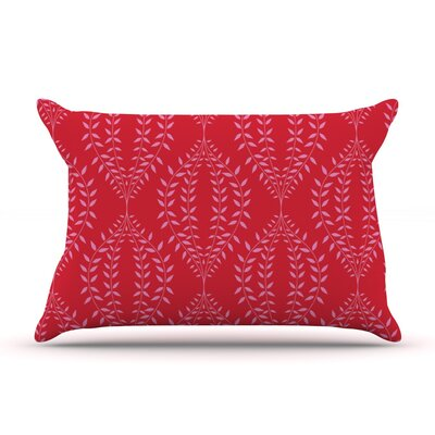 Laurel Leaf Red by Anneline Sophia Featherweight Pillow Sham, Floral