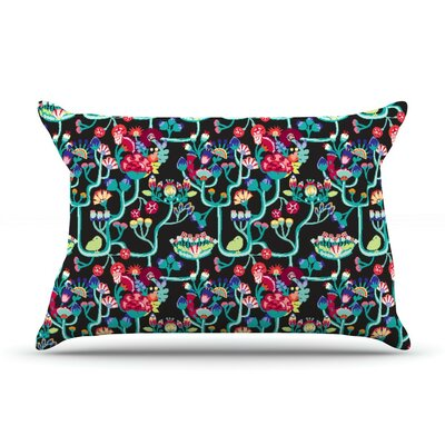 Antique Folk by Agnes Schugardt Featherweight Pillow Sham, Rainbow Black