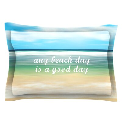 Any Beach Day by Sylvia Cook Coastal Typography Featherweight Pillow Sham