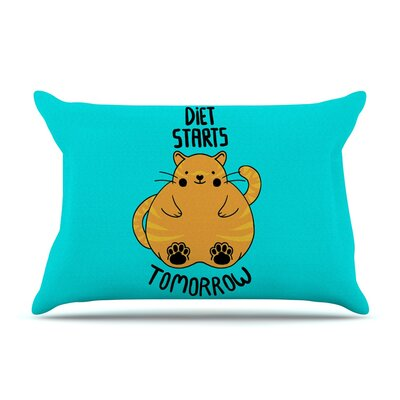 Diet Starts Tomorrow by Tobe Fonseca Cat Featherweight Pillow Sham