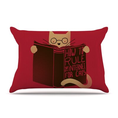 How to Rule the Internet for Cats Typography by Tobe Fonseca Cotton Pillow Sham
