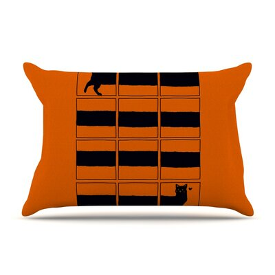 The Long Cat is Long Orange by Tobe Fonseca Cotton Pillow Sham