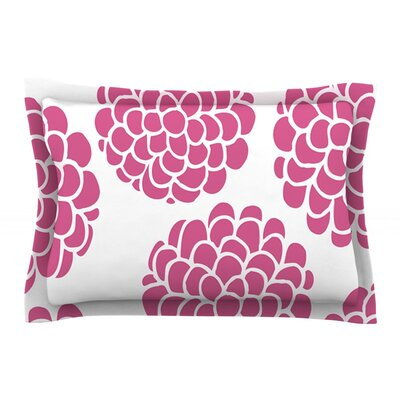 Raspberry Blossoms by Pom Graphic Design Circles Cotton Pillow Sham
