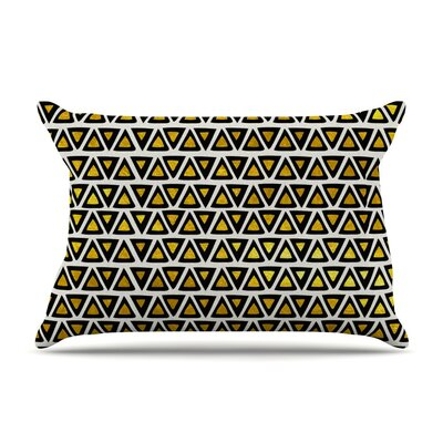 Aztec Triangles Gold by Pom Graphic Design Yellow Featherweight Pillow Sham