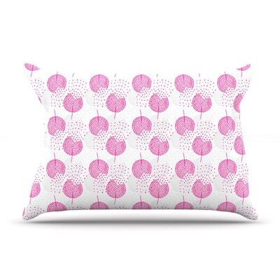 Wild Dandelions by Apple Kaur Designs Pink Cotton Pillow Sham