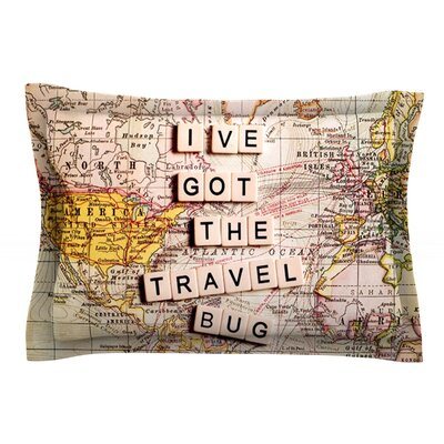 Travel Bug by Sylvia Cook Map Featherweight Pillow Sham