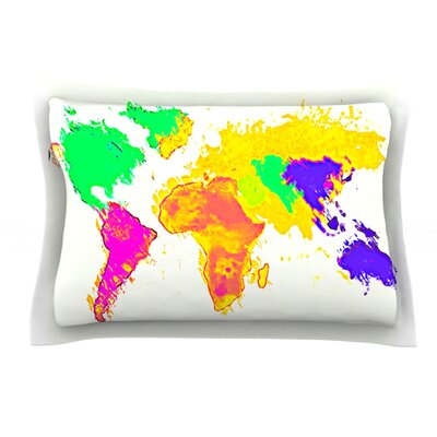 My World by Oriana Cordero Rainbow Map Cotton Pillow Sham