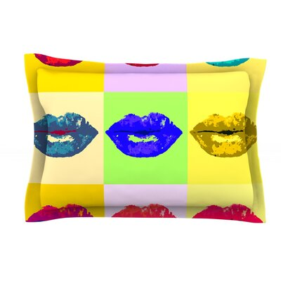 Pop Kiss by Oriana Cordero Rainbow Lips Cotton Pillow Sham